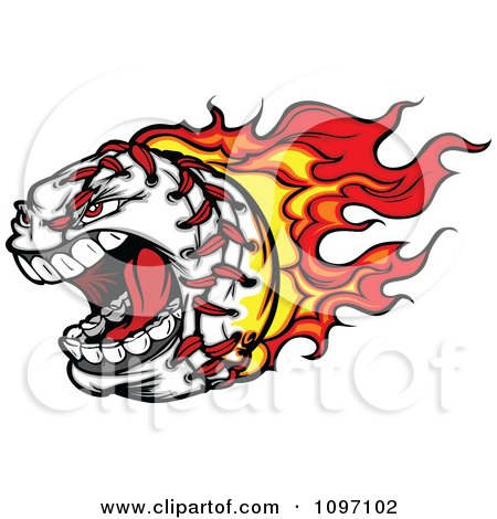 Clipart Screaming Baseball With Red And Orange Flames - Royalty Free Vector Illustration by Chromaco