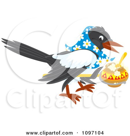 Clipart Magpie Wearing A Bandana And Lifting A Pot Of Food - Royalty Free Vector Illustration by Alex Bannykh