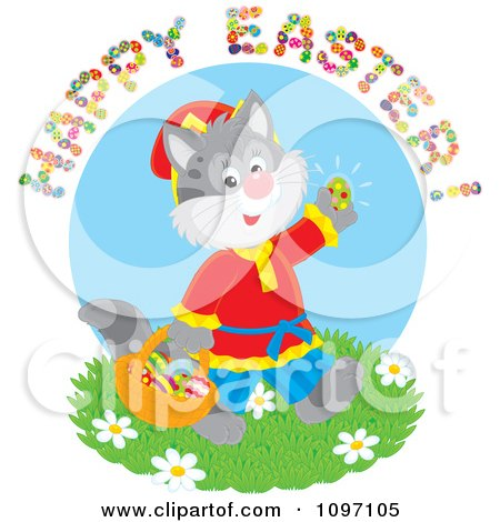 Clipart Happy Easter Greeting Over A Cat Gathering Eggs - Royalty Free Vector Illustration by Alex Bannykh