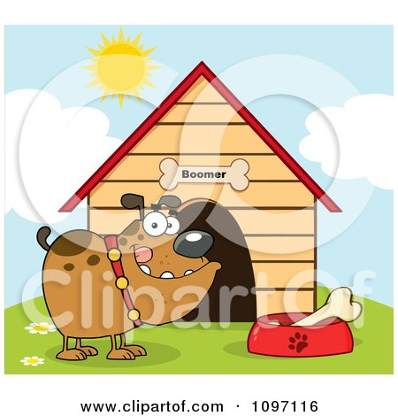 Clipart Brown Bulldog With A Bone In His Dish Outside His Dog House - Royalty Free Vector Illustration by Hit Toon