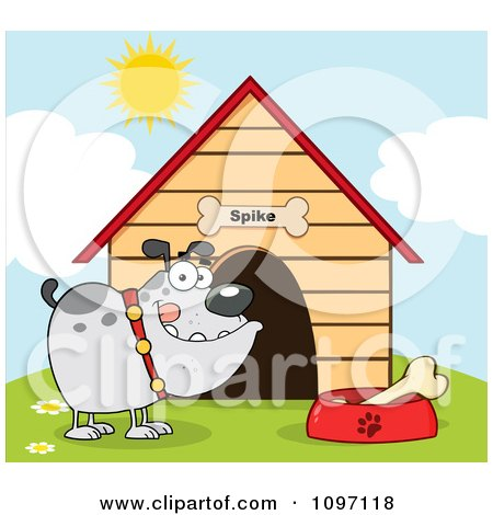 Clipart Gray Bulldog With A Bone In His Dish Outside His Dog House - Royalty Free Vector Illustration by Hit Toon
