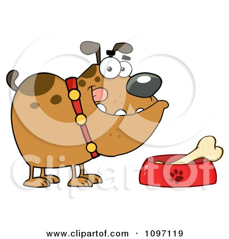 Clipart Brown Bulldog With A Bone In His Dish Bowl - Royalty Free Vector Illustration by Hit Toon