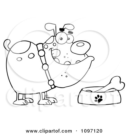Clipart Black And White Bulldog With A Bone In His Dish Bowl - Royalty Free Vector Illustration by Hit Toon