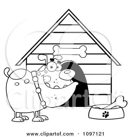 Clipart Black And White Bulldog With A Bone In His Dish Outside His Dog House - Royalty Free Vector Illustration by Hit Toon