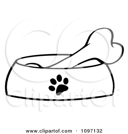 Clipart Black and White Bone In A Dog Bowl Dish - Royalty Free Vector Illustration by Hit Toon