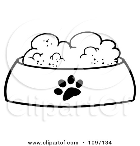 Clipart Wet Dog Food In A Black And White Food Bowl Dish - Royalty Free Vector Illustration by Hit Toon