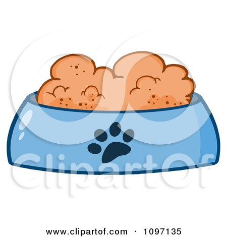 Clipart Wet Dog Food In A Blue Food Bowl Dish - Royalty Free Vector Illustration by Hit Toon