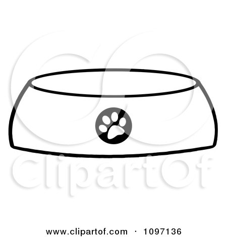 Clipart Black And White Dog Bowl Food Dish With A Paw Print - Royalty Free Vector Illustration by Hit Toon