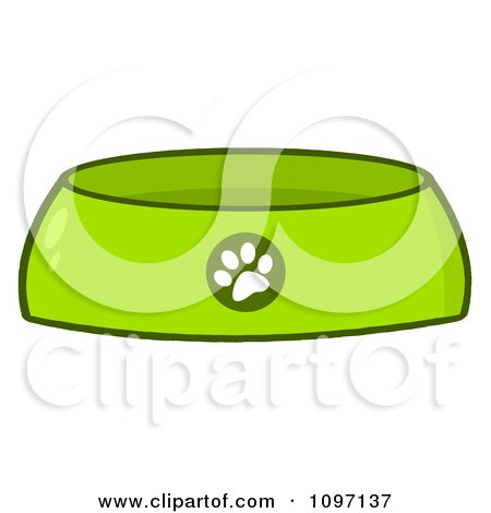 Clipart Green Dog Bowl Food Dish With A Paw Print - Royalty Free Vector Illustration by Hit Toon