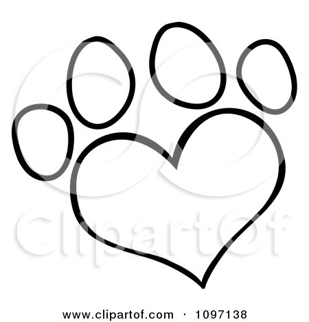 Clipart Outlined Heart Shaped Dog Paw Print - Royalty Free Vector Illustration by Hit Toon