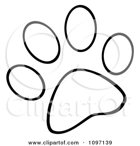 Clipart Outlined Dog Paw Print - Royalty Free Vector Illustration by Hit Toon