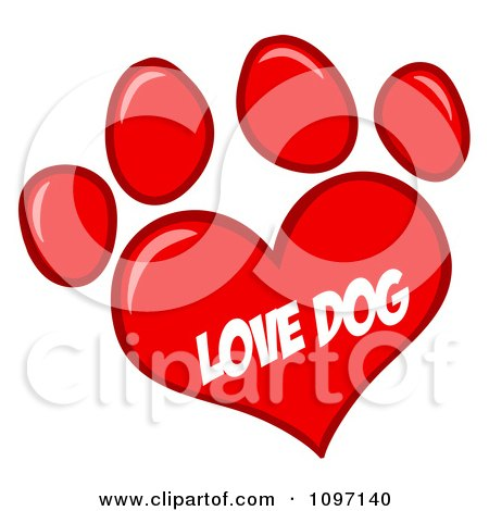 Clipart Red Love Dog Heart Shaped Paw Print - Royalty Free Vector Illustration by Hit Toon