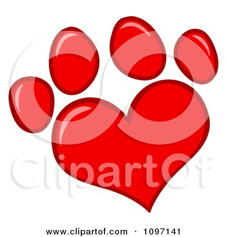 Clipart Red Heart Shaped Dog Paw Print - Royalty Free Vector Illustration by Hit Toon