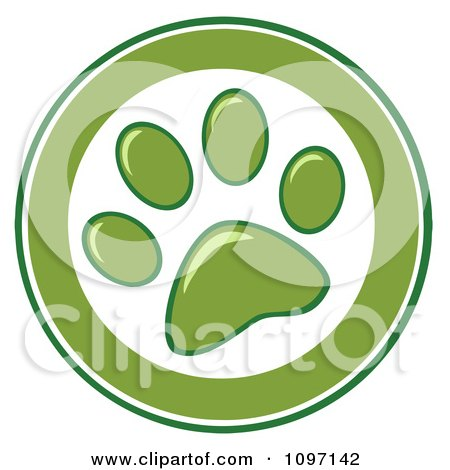 Clipart Green And White Dog Paw Print Circle - Royalty Free Vector Illustration by Hit Toon