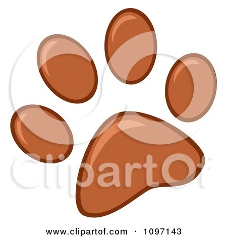 Clipart Brown Dog Paw Print - Royalty Free Vector Illustration by Hit Toon