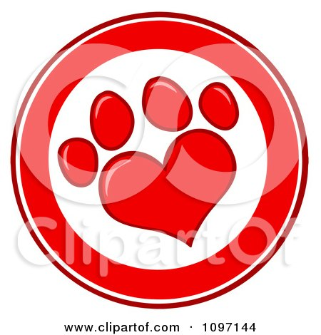 Clipart Red And White Heart Shaped Dog Paw Print Circle - Royalty Free Vector Illustration by Hit Toon