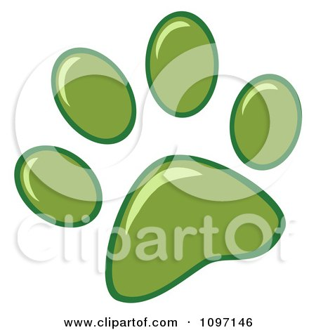 Clipart Green Dog Paw Print - Royalty Free Vector Illustration by Hit Toon