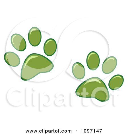 Clipart Two Green Dog Paw Prints - Royalty Free Vector Illustration by Hit Toon