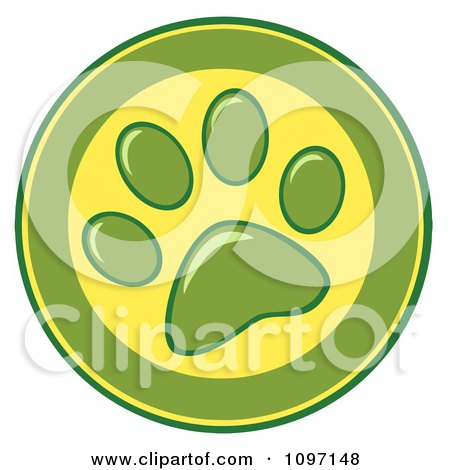 Clipart Green And Yellow Dog Paw Print Circle - Royalty Free Vector Illustration by Hit Toon
