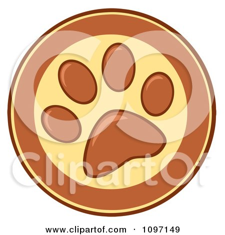 Clipart Brown And Yellow Dog Paw Print Circle - Royalty Free Vector Illustration by Hit Toon