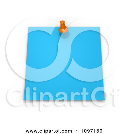 Clipart 3d Blank Blue Memo Note With An Orange Drawing Pin - Royalty Free CGI Illustration by 3poD