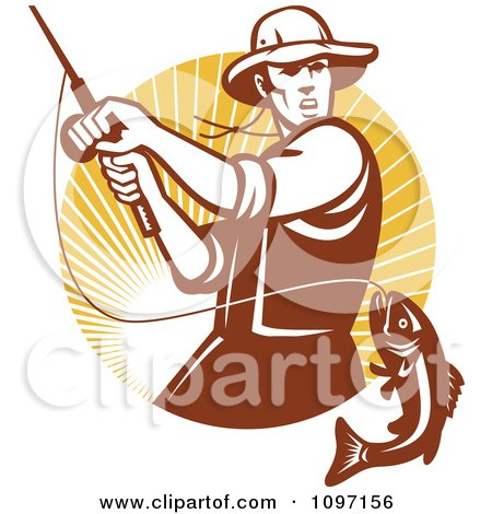 Clipart Retro Fly Fisherman Reeling In A Largemouth Bass Fish In A Circle Of Rays - Royalty Free Vector Illustration by patrimonio