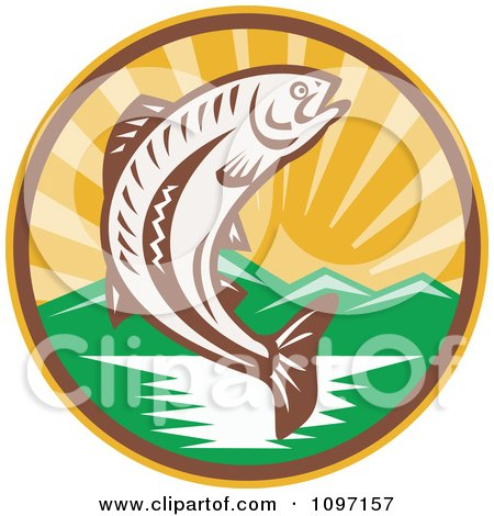 Clipart Retro Wodcut Trout Fish Jumping Over A River - Royalty Free Vector Illustration by patrimonio