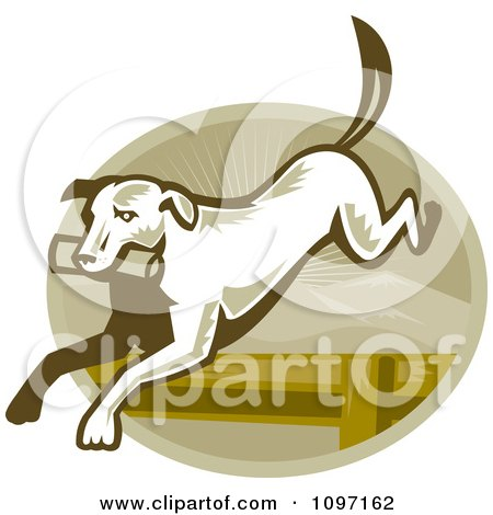 Clipart Retro Retriever Dog Leaping Over An Agility Hurdle - Royalty Free Vector Illustration by patrimonio
