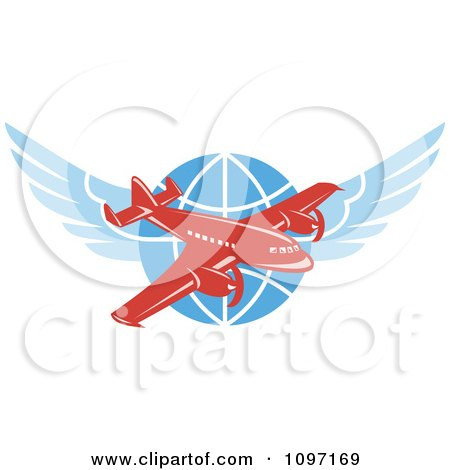 Clipart Retro Red Jumbo Jet Propeller Airplane Over A Winged Globe - Royalty Free Vector Illustration by patrimonio