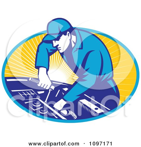 Clipart Retro Automobile Mechanic Using A Socket Wrench On A Car Engine - Royalty Free Vector Illustration by patrimonio
