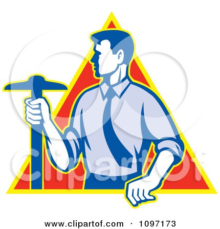 Clipart  Retro Styled Architect Holding A T-Square Drafting Tool Over A Triangle - Royalty Free Vector Illustration by patrimonio