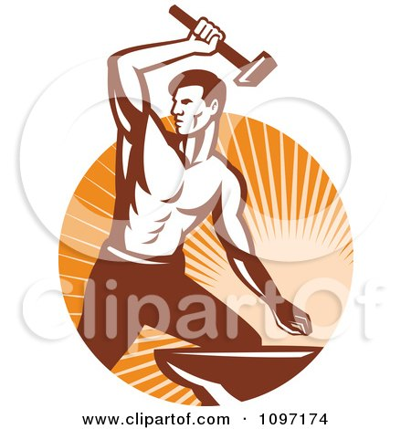 Clipart Strong Woodcut Retro Blacksmith Striking An Anvil With A Hammer Over Rays - Royalty Free Vector Illustration by patrimonio