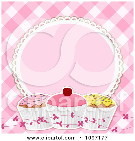 Clipart Pink Gingham Background With A Frame And Cupcakes - Royalty Free Vector Illustration by elaineitalia