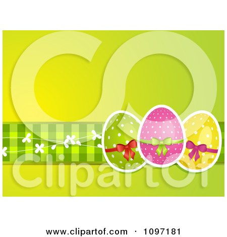 Clipart Green Easter Background With Three Polka Dot Eggs And Gingham - Royalty Free Vector Illustration by elaineitalia