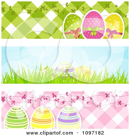 Clipart Three Easter Egg Website Banners With Pink And Green Gingham And Blue Sky - Royalty Free Vector Illustration by elaineitalia