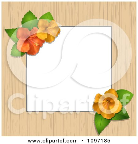Clipart Border Or Frame Of Wood And Hibiscus Flowers With Copyspace - Royalty Free Vector Illustration by elaineitalia