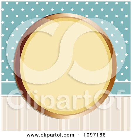 Clipart Retro Gold Circular Frame On Blue Polka Dots And Stripes - Royalty Free Vector Illustration by elaineitalia