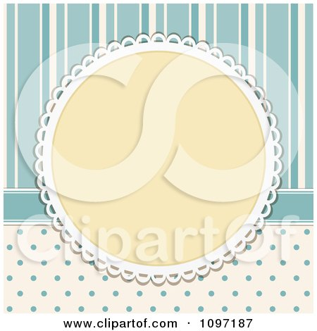 Clipart Retro Doily Circular Frame On Blue Polka Dots And Stripes - Royalty Free Vector Illustration by elaineitalia
