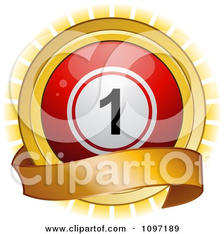 Clipart 3d Red Bingo Ball And Blank Banner Over A Burst - Royalty Free Vector Illustration by elaineitalia
