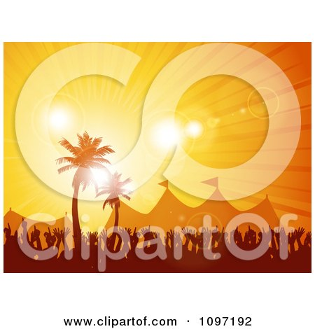 Clipart Silhouetted Crowd And Tents Under Tropical Palm Trees At Sunset - Royalty Free Vector Illustration by elaineitalia