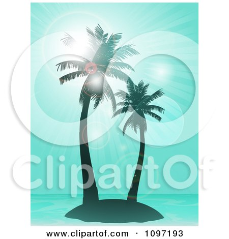 Clipart Blue Tropical Island With Palm Trees And Flares With Blue Rays - Royalty Free Vector Illustration by elaineitalia