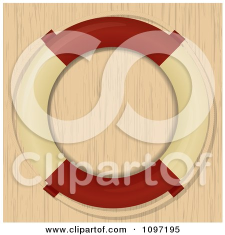 Clipart Nautical Life Buoy Over Wood Grain - Royalty Free Vector Illustration by elaineitalia