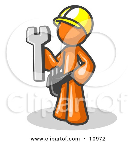 Proud Orange Construction Worker Man in a Hardhat, Holding a Wrench Clipart Illustration by Leo Blanchette