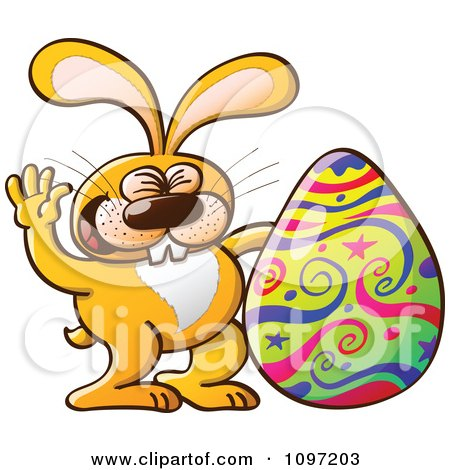 Clipart Happy Orange Easter Bunny Waving By A Decorated Egg - Royalty Free Vector Illustration by Zooco