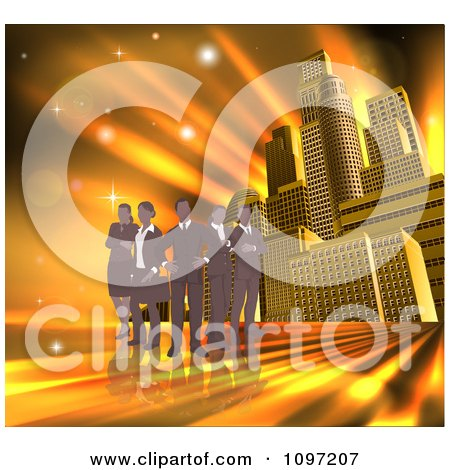Clipart Silhouetted Business Team Standing Over A Golden Skyscraper Background - Royalty Free Vector Illustration by AtStockIllustration
