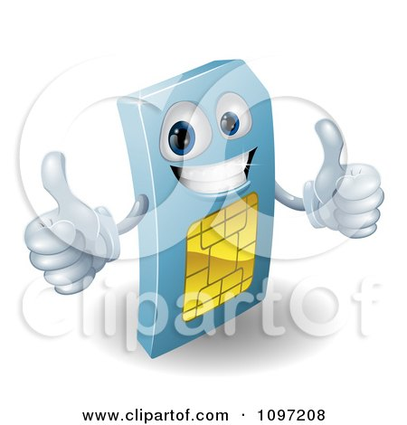 Clipart 3d Blue SIM Card Mascot Holding Two Thumbs Up - Royalty Free Vector Illustration by AtStockIllustration