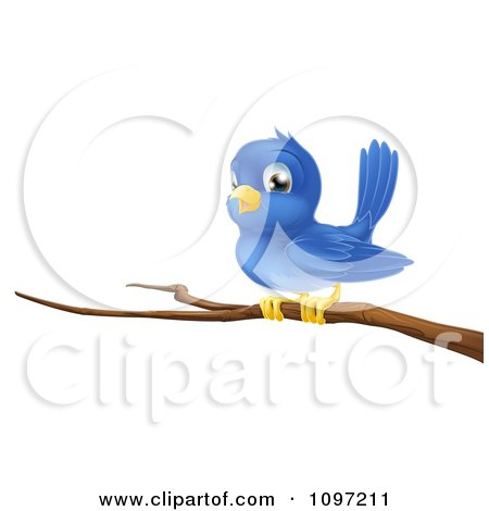 Clipart Cute Blue Bird Perched On A Bare Tree Branch - Royalty Free Vector Illustration by AtStockIllustration