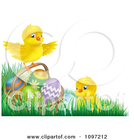 Clipart Cute Easter Chicks With A Basket And Eggs In Grass - Royalty Free Vector Illustration by AtStockIllustration
