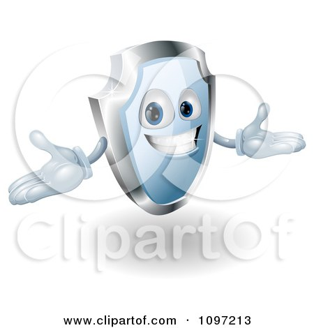 Clipart Friendly Blue And Chrome Shield Mascot Holding His Hands Out - Royalty Free Vector Illustration by AtStockIllustration
