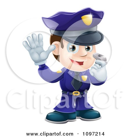 Clipart Friendly Male Police Officer Holding A Hand Up And Using A Whistle - Royalty Free Vector Illustration by AtStockIllustration